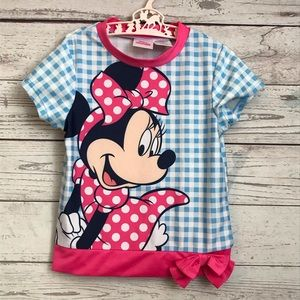 4T Disney Junior Top Minnie Mouse Blue Checkered